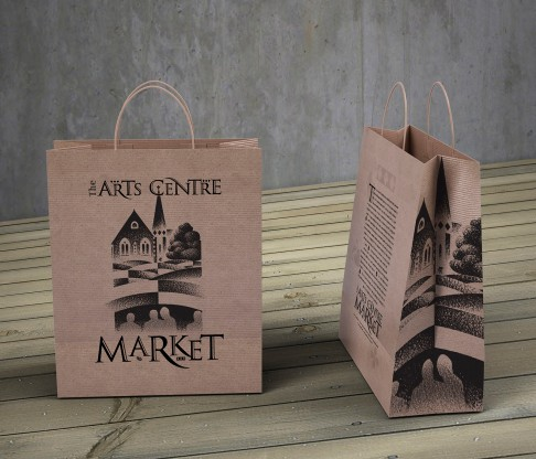 Kraft paper shopping Bag, The Arts Centre Market, Christchurch, Logo, Brand and identity systems, Illustration, Type design