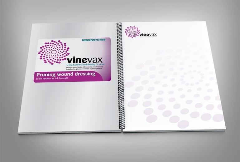 Agrimm, Vinevax logo, presentation document spread, stationery, letterhead, packaging label, MagentaDot Brands