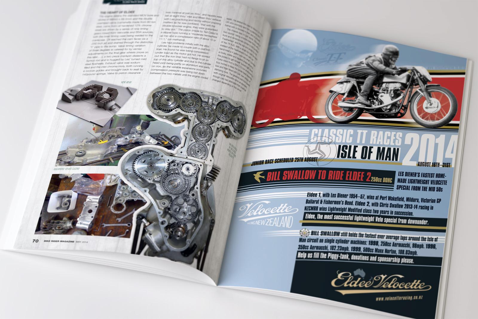 BRNZ Eldee-2 Isle of Man Classic TT races full page advertisement