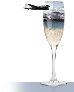 Champagne flute, DC3 aircraft, Sydney Harbour Bridge, Sydney Opera House, photocomposite illustration.