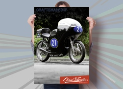 Eldee Velocette, front three-quarter, poster, A2, portrait, Craftsmanship, mock-up