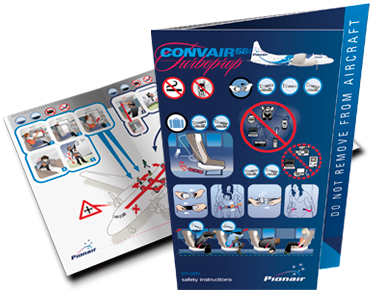 Pionair Aviation Convair CV580 cabin safety or Safety on board card.