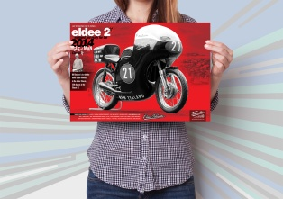 Eldee 2, Velocette, equipped and ready, launch poster, A3, mockup