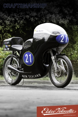 Eldee Velocette, front three-quarter, poster, A2, portrait, Craftsmanship