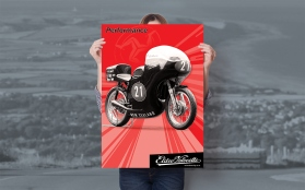 Eldee Velocette, front three-quarter, red, Isle of Man Classic TT, commemorative poster, A2, Performance, portrait, mock-up