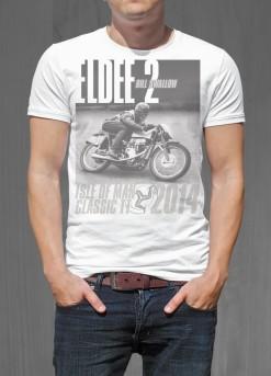 Eldee Velocette, t-shirt design, front of black shirt, Velocette Racing New Zealand, MagentaDot Brands.