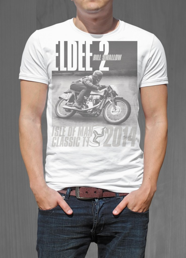 Eldee Velocette, t-shirt design, front of black shirt, Velocette Racing New Zealand, MagentaDot Brands.