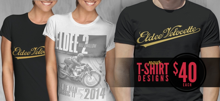 Eldee Velocette, t-shirt designs, white teeshirt, black teeshirt, Velocette Racing New Zealand, MagentaDot Brands.