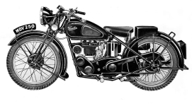 Velocette, MOV, 1947, line drawing, airbrush, pen and ink, 1947 sales catalogue