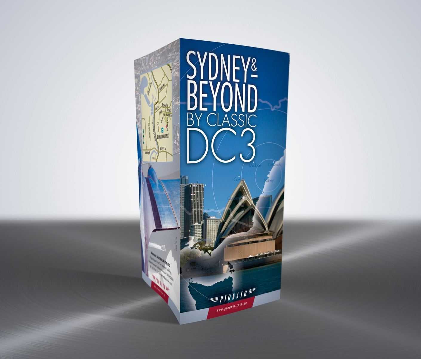 Pionair Australia, Classic DC3 aviation, Sydney & Beyond, 8-panel, gate-fold, DLE tourism brochure
