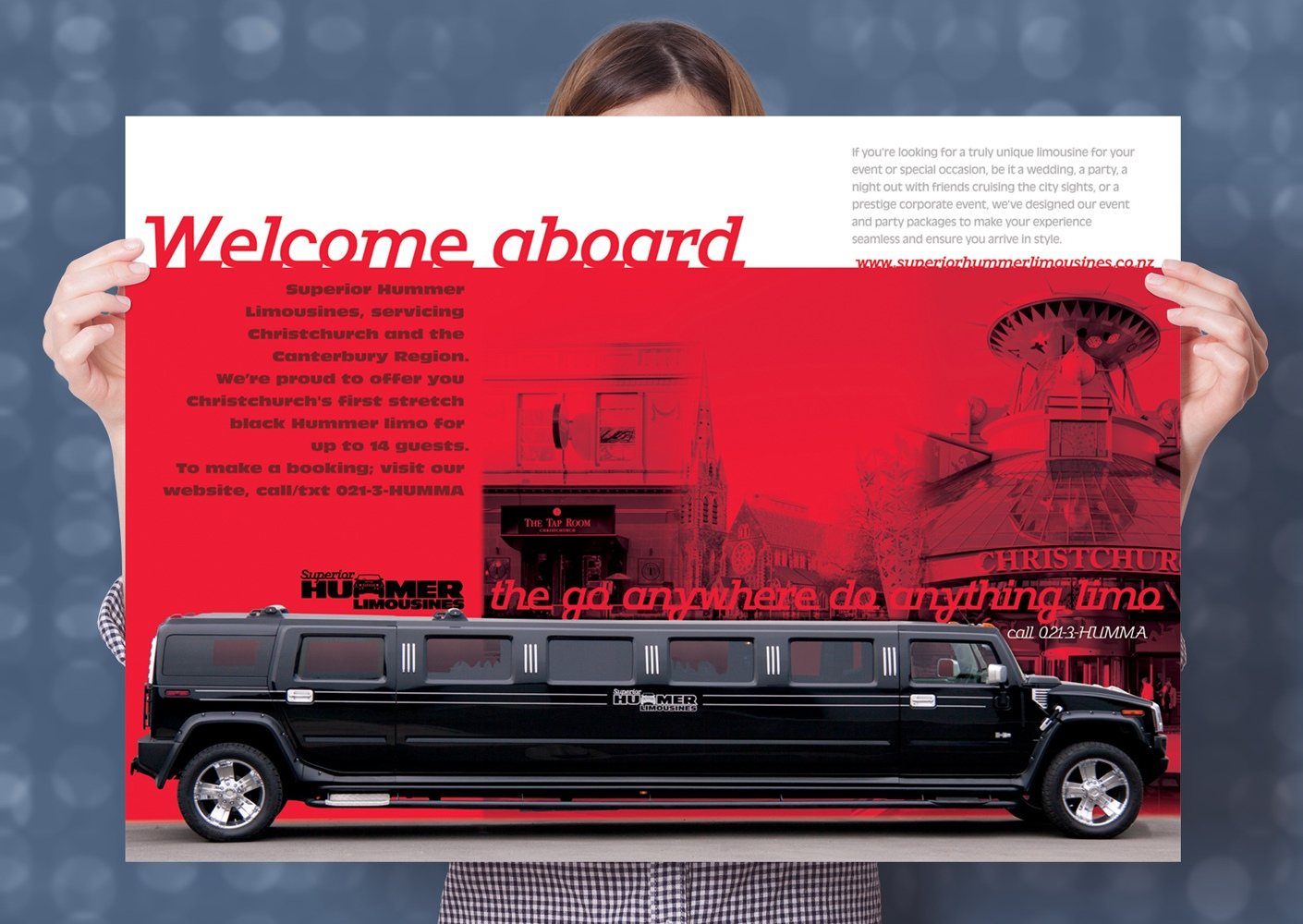 Superior Hummer Limousines, A2 Poster art, display, Promotional design and advertising, digital illustration, photography