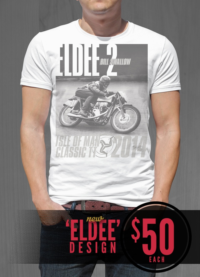 Eldee Velocette, Eldee 2 Les Diener Racing design, t-shirt design, front of white shirt, Velocette Racing New Zealand, MagentaDot Brands.