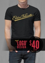 Eldee Velocette, Logo design, t-shirt design, front of black shirt, Velocette Racing New Zealand, MagentaDot Brands.