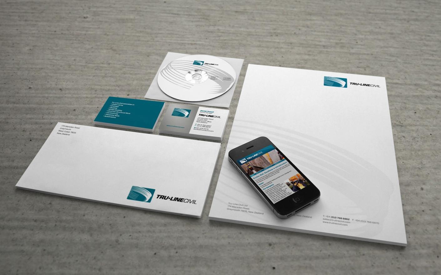 Tru-Line Civil, corporate stationery system, business card, letterhead, mobile web, CD ROM, envelope, website