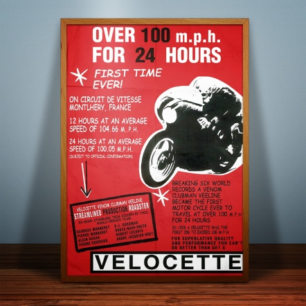 Velocette, Venom, poster, A2, 100mph, 24hr, record, 1961, mock-up