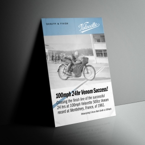 Velocette, Venom, flyer, A4, 100mph, 24hr, record, 1961, mock-up