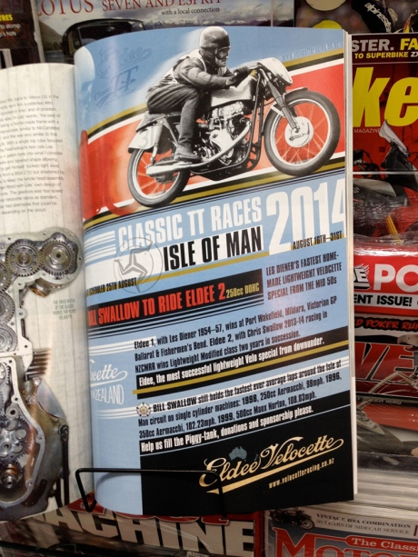 Bike Rider New Zealand, Velocette Racing New Zealand, Eldee Velocette, full page advertisment, Bill Swallow, Classic TT races Isle of Man 2014