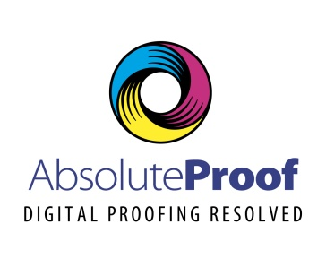 "AbsoluteProof - Digital Proofing Resolved. A symbol and type Logo, product name positioning statement lock-up. The Absolute-Proof symbol is a donut shaped ""O"" ring trisected, having rotational symmetry about 120 degrees of rotation. The three segments are filled respectively with Cyan, Magenta and Yellow and the engraved style vector linework is black. The symbol is dynamic, appearing to rotate forward in a clockwise direction, like the digital colour engine it represents. Brands for New Zealand / International companies."