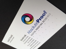 Close-up of Absolute-Proof business card, on sided design, full colour, digital printing, Printing and publishing, Brand naming, Brand and identity systems design, Illustration, icon design,