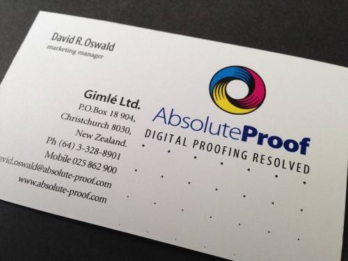 AbsoluteProof business card.