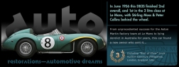 Graphic Aston Martin DB3S slide from the 'Auto Restorations—automotive dreams' 'PassionPoint' slideshow / marketing communications banner at the head of the homepage. The positioning of the Auto Restorations brand as representing a firm of internationally recognised, highly skilled and experienced classic car restorers who are also passionate classic car enthusiasts is expressed in these mini-advertisement slides.