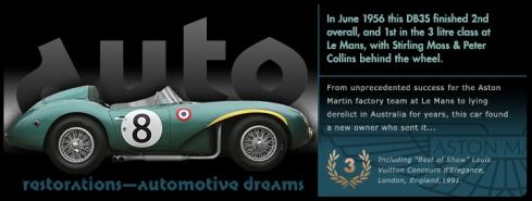 Graphic Aston Martin DB3S slide from the 'Auto Restorations—automotive dreams slideshow