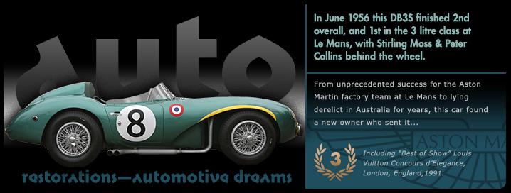 Graphic Aston Martin DB3S slide from the 'Auto Restorations—automotive dreams slideshow