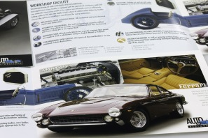 "Close-up detail of the second, four-page spread of Auto Restorations' double gate-fold capabilities brochure featuring Ferrari a fully restored 250 GT Pininfarina Berlinetta ""Lusso"". Advertising and Promotion, designed and printed in Christchurch, New Zealand."