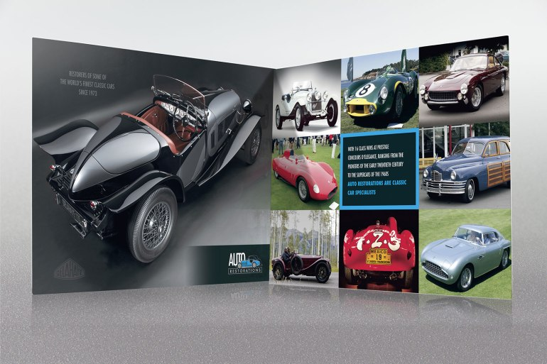 Opening the first, two-page spread of Auto Restorations' double gate-fold capabilities brochure. Advertising and Promotion, designed and printed in Christchurch, New Zealand.