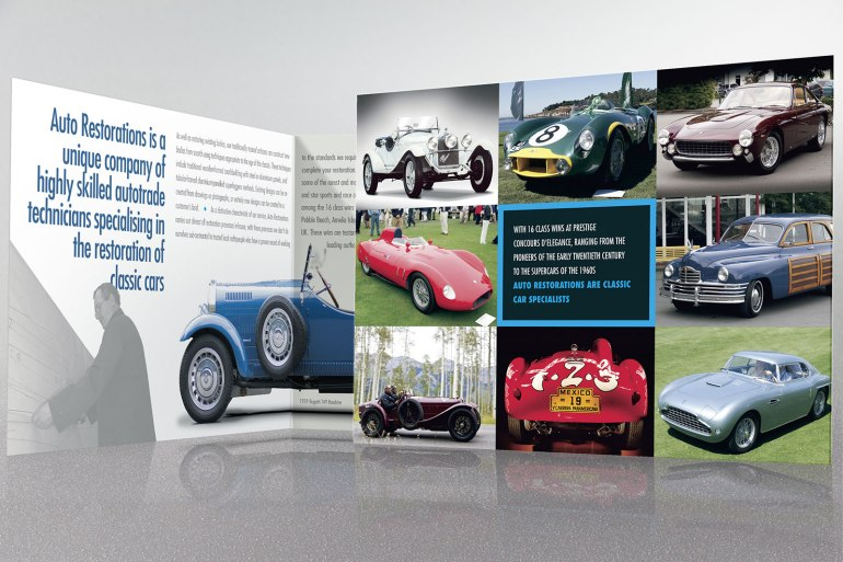 Opening the second, four-page spread of Auto Restorations' double gate-fold brochure.