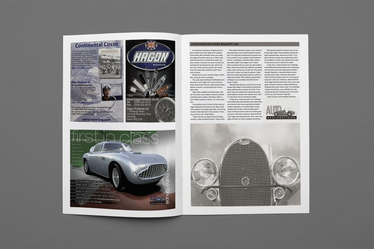 Spread from Classic Car enthusiasts magazine, showing 'page dominance' achieved by Auto Restorations' 2010 advertising campaign across the spread. Second in a campaign of ads. The theme of the campaign is to dedicate each ad to one of their 16 international award winning restorations.