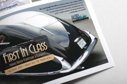 Talbot Lago half page advertisement for Auto Restorations in Classic Car enthusiasts magazine 2010. First in a campaign of ads. The theme of the campaign is to dedicate each ad to one of their 16 international award winning restorations.