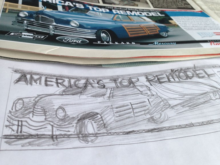 America's top remod' advert composite and pencil concept draft of the final photocomposite