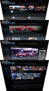 Auto Restorations' webpage design templates stack.