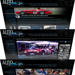 Auto Restorations' webpage design templates stack.