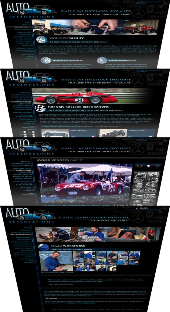 Christchurch's Internationally renowned classic car restorations firm Auto Restorations' webpage design templates stack. Client: Auto Restorations Category: Classic car restorations Web Design firm: MagentaDot Brands. Web coding and CMS customisation: Zoomroom Interactive