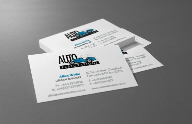 Auto Restorations business cards after BRAND-AID logo recreation.