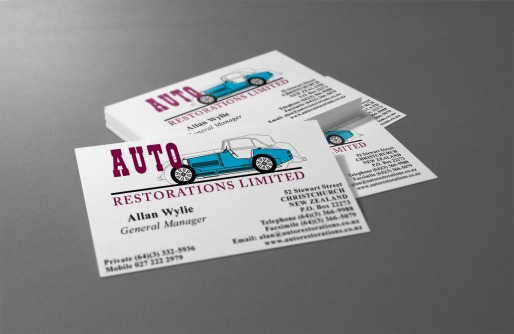 Auto Restorations business cards before BRAND-AID logo recreation.