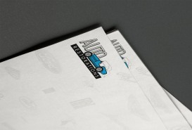 Auto Restorations letterhead, logo close-up