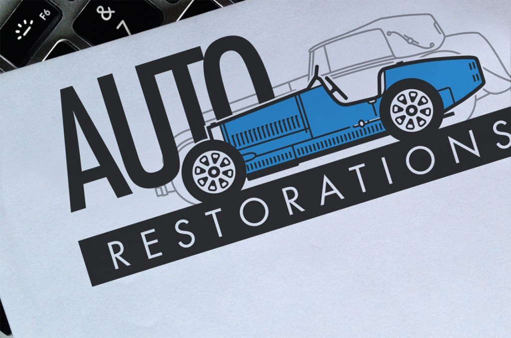 Auto Restorations' new letterhead, 2009. a 'soft' BRAND-AID rebrand, meaning the company name was retained but a complete logo restoration was necessary to strengthen it and correct its faults Brands for New Zealand companies, Christchurch, New Zealand.