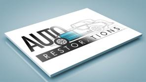 Auto Restorations logo makeover intermediate steps