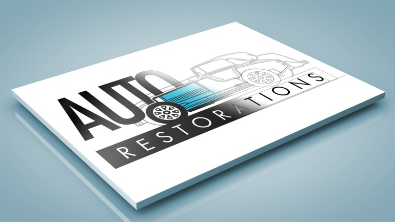 BRAND-AID Auto Restorations logo recreation steps two to five: Simplify the car icons details and strengthen the line weights for use at screen icon size. Typographic design, finesse setting the type within and among the car icons, de-clutter the stacking and separation of elements for clear legibility.