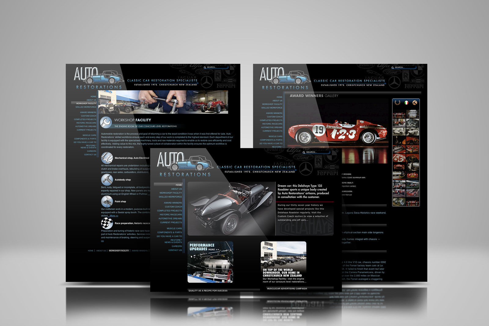 Auto Restorations web design showcase, three pages from the site displayed in an overlapping symmetrical composition. Rebrand for growth. Brands for New Zealand companies, Christchurch, New Zealand.