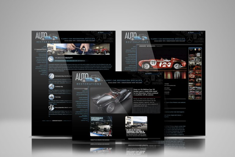 Auto Restorations web design showcase, three pages from the site displayed in an overlapping symmetrical composition.
