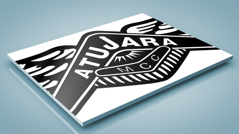 After BRAND-AID logo restoration. Atujara Motorcycle Club logo enlarged to reveal clean edges and smooth curves, sharp corners and crisp legible type than can only be achieved by manual vector drawing—Auto-trace has its place but it is no substitute for good draughtmanship and the designer's eye for balancing figure and ground, negative and positive space.