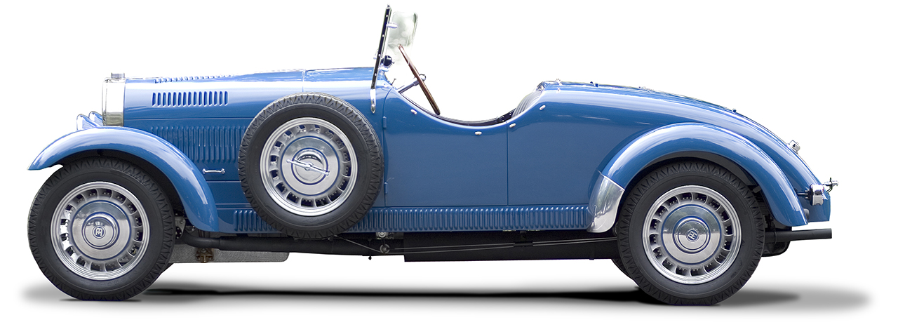 Bugatti t49 side elevation clearcut on a white background. Auto Restorations.