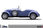 Bugatti t49, photo of Auto Restorations Classic car restoration, a side elevation clear cut on a white background as mixed digital illustration and photocomposite.
