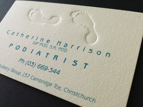 Catherine Harrison Podiatrist logo and business card