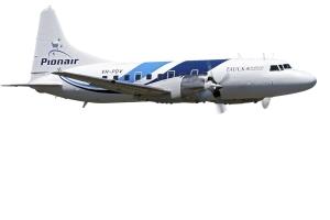 Convair CV580 cruising, clearcut on a white background.
