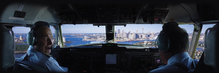 Convair CV580 cockpit panorama, Sydney.